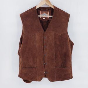 Vintage 70s Heavy Duty Suede Leather Western Vest